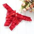 Женские кружевные трусики-стринги, трусики с низкой талией и открытой промежностью, Эротическое нижнее белье с цветочным кружевом