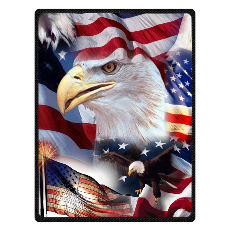 Personalized US Flag And Bald Eagle Throw Blanket Custom Coral Flannel Blanket Sofa Couch Bed Plane Travel TV Blankets