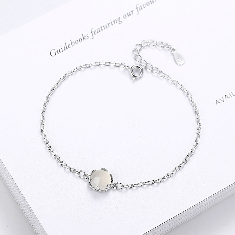 Natural opal beads bracelet silver plated fashion ladies bracelet retro metal bracelet ladies 2018 Korean jewelry gifts