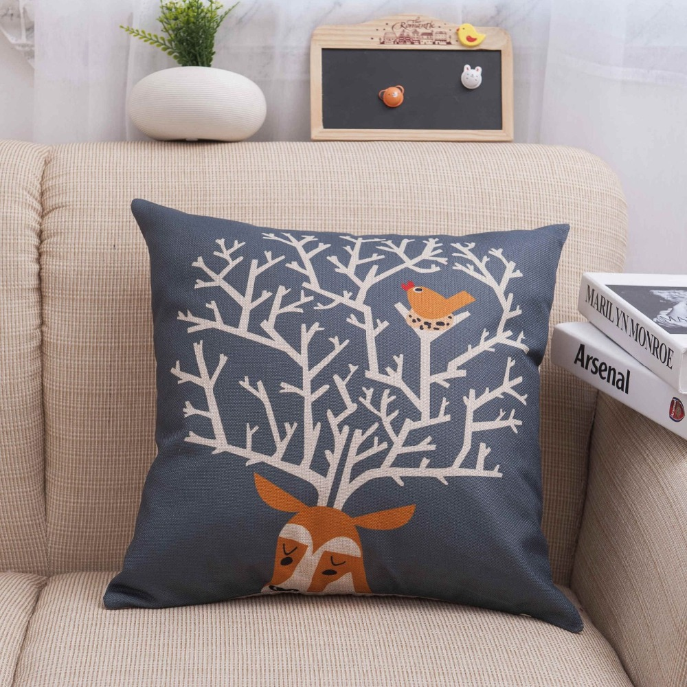 45*45CM Gray-blue Linen Pillowcase Fawn Pattern Square Pillowcase Home Pillow Case Breathable Flax Without pillow