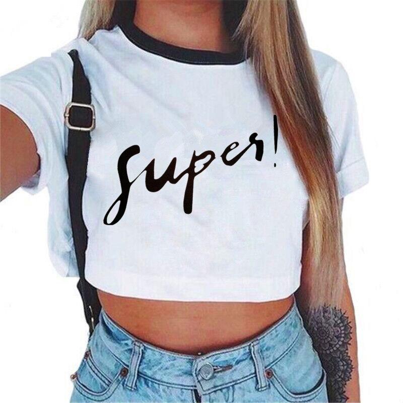 Femmes VOGUE lettre haut court à manches courtes t-shirts femmes tout nouveau T-Shirt décontracté hauts été femme t-shirt mignon recadrée haut 3