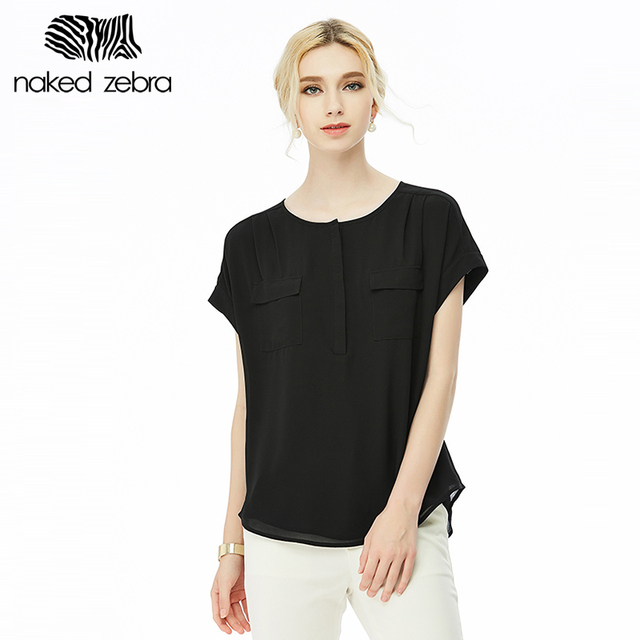 eb54ef90 NAKED ZEBRA Summer Woman Shirt Round Collar Pure Color Short Sleeve Chiffon  Tops With Pockets Double Chiffon Tee Blouse