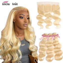 Mèches Remy brésiliennes naturelles Body Wave-Ishow, cheveux naturels, blond 613, avec Frontal Closure, lots de 3
