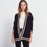 2018 new British style women simple and fashion color stripe cardigan knitting long coat