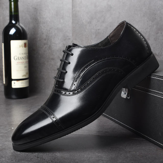 OSCO Brock Engraved Business Casual Genuine Leather Shoes Men Oxfords Dress Wedding Shoes Male British Breathable Pointed Shoes