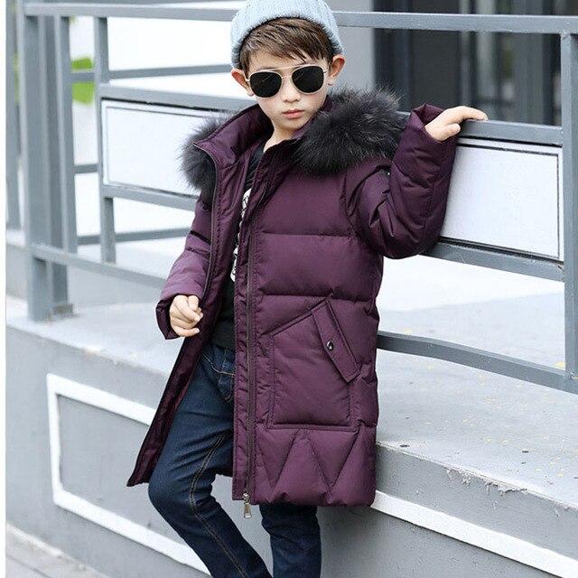 Большой зимняя куртка для мальчика с меховым капюшоном Новинка 2017 длинные цвета: зеленый, черный синий белая утка вниз Детское хлопковое вечернее платье в горошек, 15F Куртки для Одежда для мальчиков