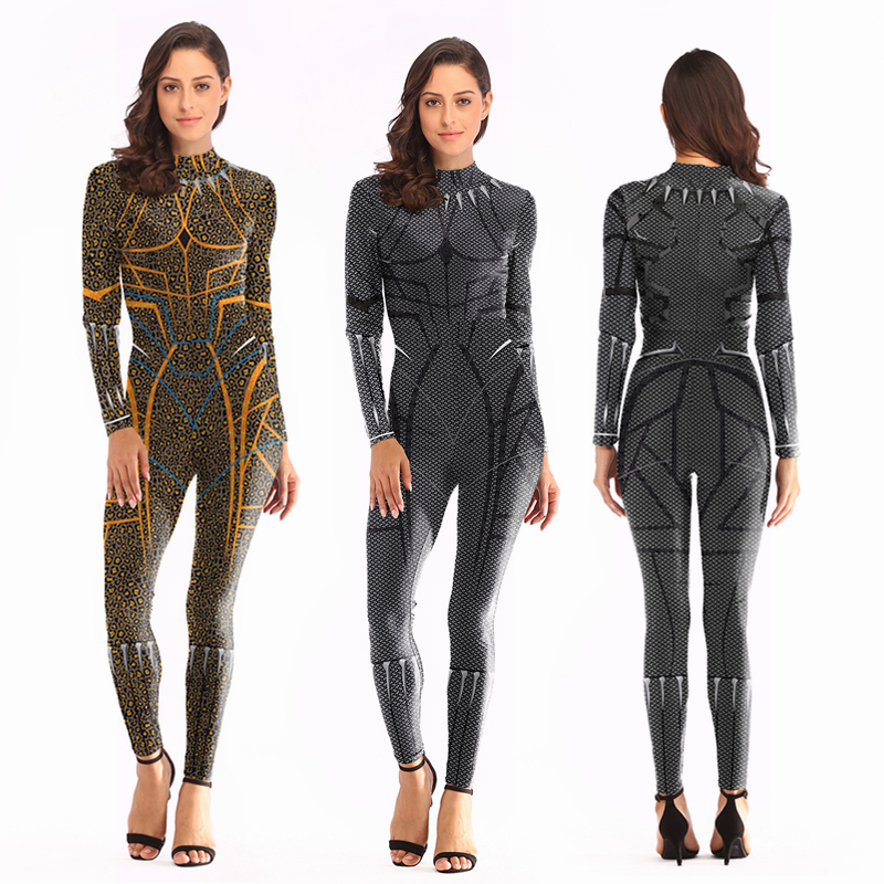 2019 3D Super Hero Costume Cosplay Women Avengers Black Panther Jumpsuit Costumes For Girl ...