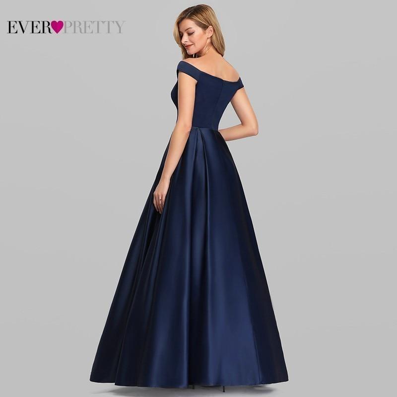 Navy Blue Elegant Women Long Prom Dresses 2019 Ever Pretty Satin A LIne V Neck Off