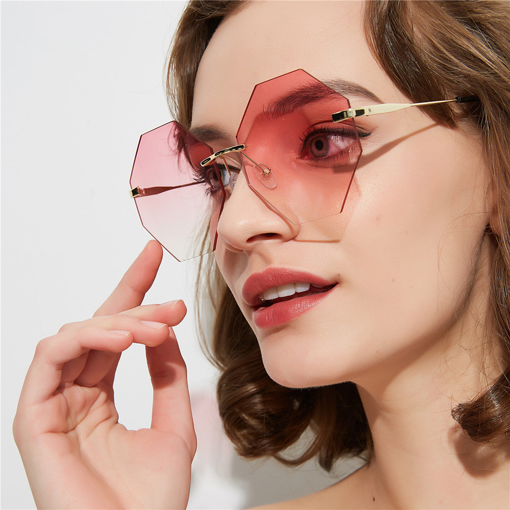 PAWXFB 2019 High quality Sunglasses women Fashion Rimless Accessories Female Oversized Sun Glasses