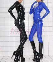 nature rubber latex handmade zentai fetish tights catsuit with attached gloves for woman