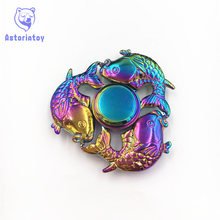 Colorful cyprinoid Hand spinners Metal Fidget Spinner For Autism and ADHD Kids spiner     Finger Toy Fidget spiner Skinner