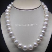 """1"""" натуральный огромный 11-12 мм АА уровень белый жемчуг ожерелье"""