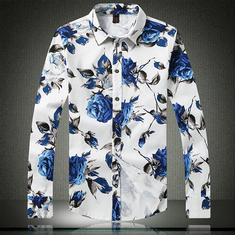 2017 spring and autumn stylish font b men s b font casual flower font b shirt