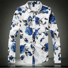 2017 spring and autumn stylish men s casual flower shirt Slim long sleeved shirt good quality