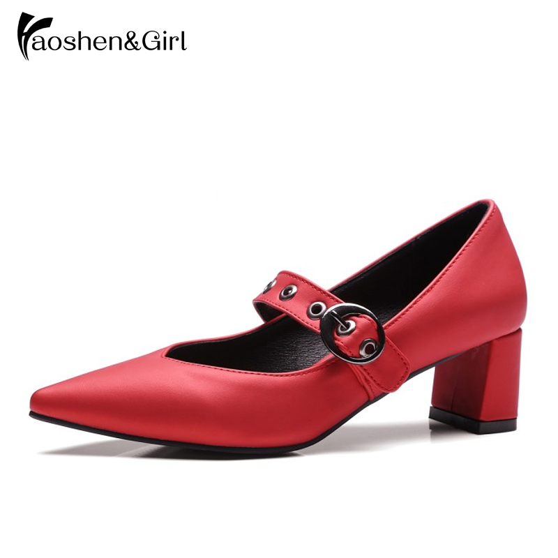 Haoshen G Pointed High Heels Shoes Women Buckle Pumps Spring Fashion  Quality Woman Pump Party Heel Shoes b68969f5e7c3