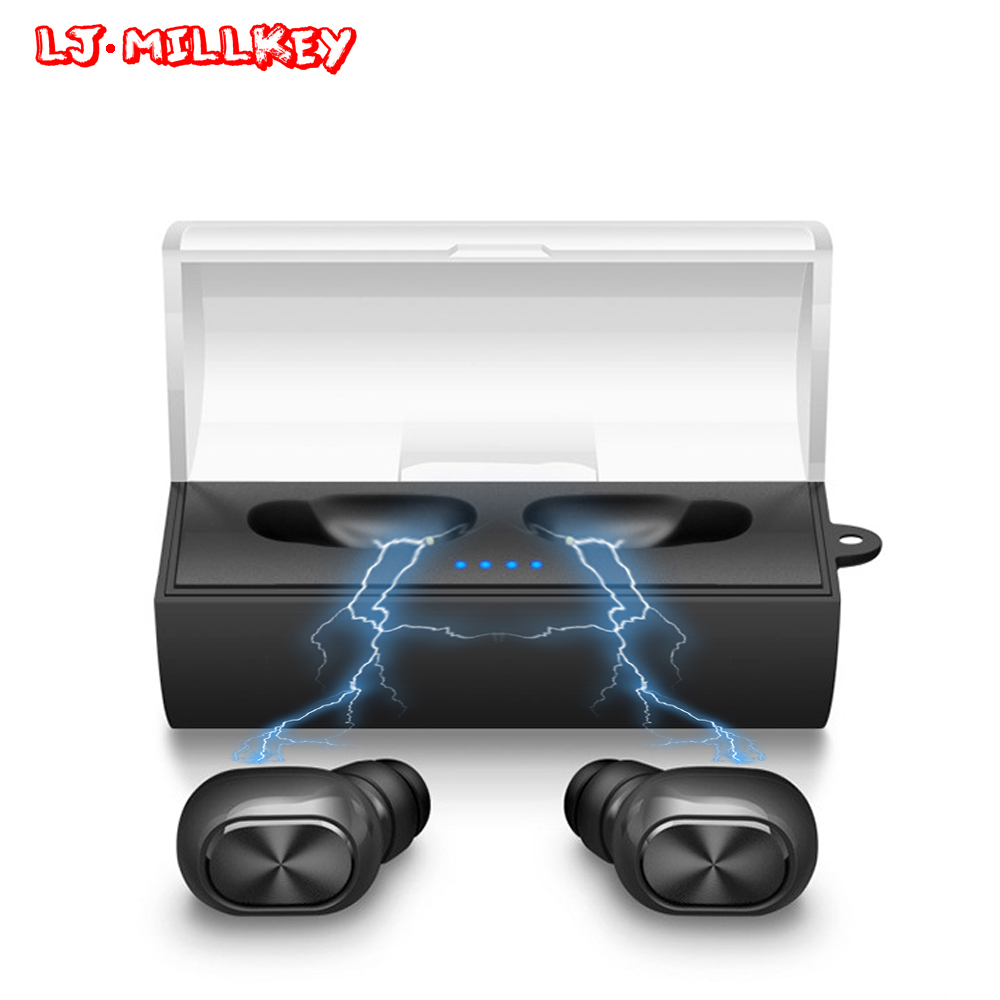 TWS Bluetooth Earphone Earbuds Touch Control Hifi Stereo Wireless Mic for Phone With Charger Charging Box Mini LJ-MILLKEY YZ124 gieftu true wireless earbuds twins x2t mini bluetooth csr4 2 earphone stereo with magnetic charger box case for mobile phone