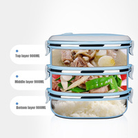 Hot 1 3 Layers Stainless Steel Lunch Box Thermos For Kid Japanese Portable Handle Food Container
