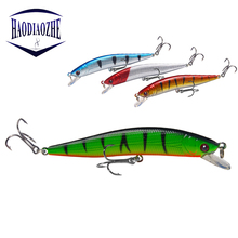Купить с кэшбэком HAODIAOZHE 10cm 8.2g Fishing Lure Minnow Bait Wobbler Floating 6# Treble Hook Artificial Pesca Swimbait Crankbait Pesca YU510