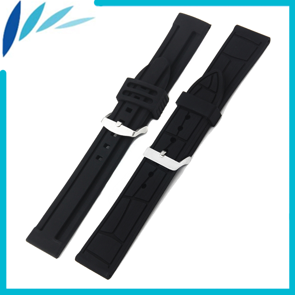 где купить Silicone Rubber Watch Band 20mm 22mm 24mm for Jacques Lemans Watchband Strap Wrist Loop Belt Bracelet Black Men Women + Tool по лучшей цене