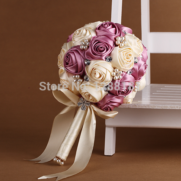 Wedding Flowers Online Artificial : Hand made top quality beaded brooch silk flower bride