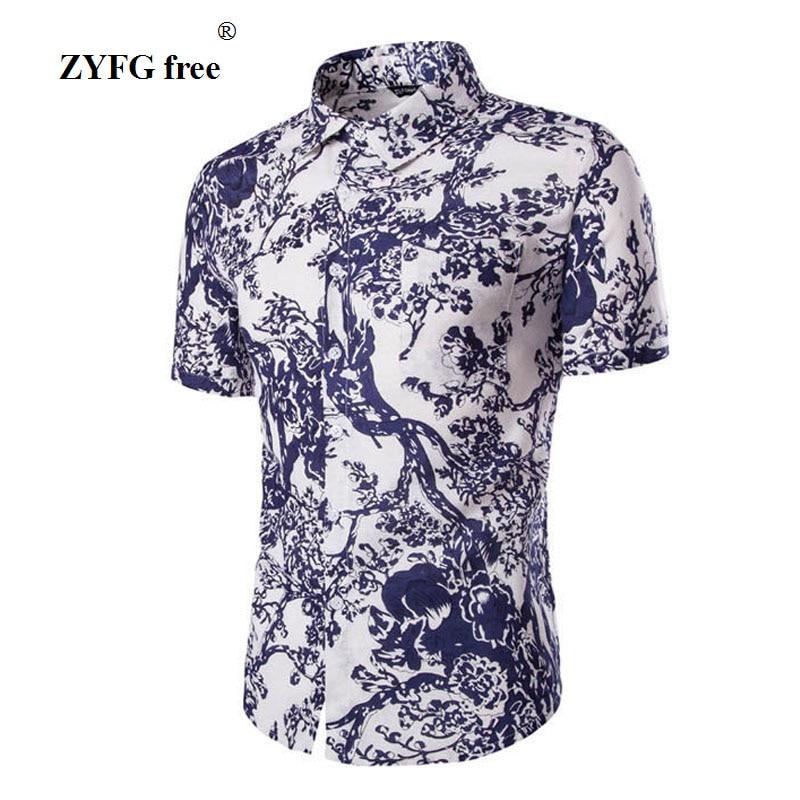 2017 summer new fashion brand style mens square neck clothing printing shirts casual Slim Shirt Mens short-sleeved mens shirt