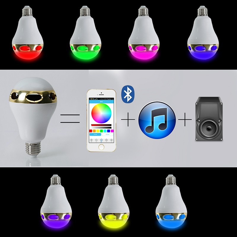 20pcs/lot New Arrival Multi-Functional Bulbs Smart E26/E27 Bulb RC Colorful LED Bluetooth 3.0 Speaker Lights LED Bulb