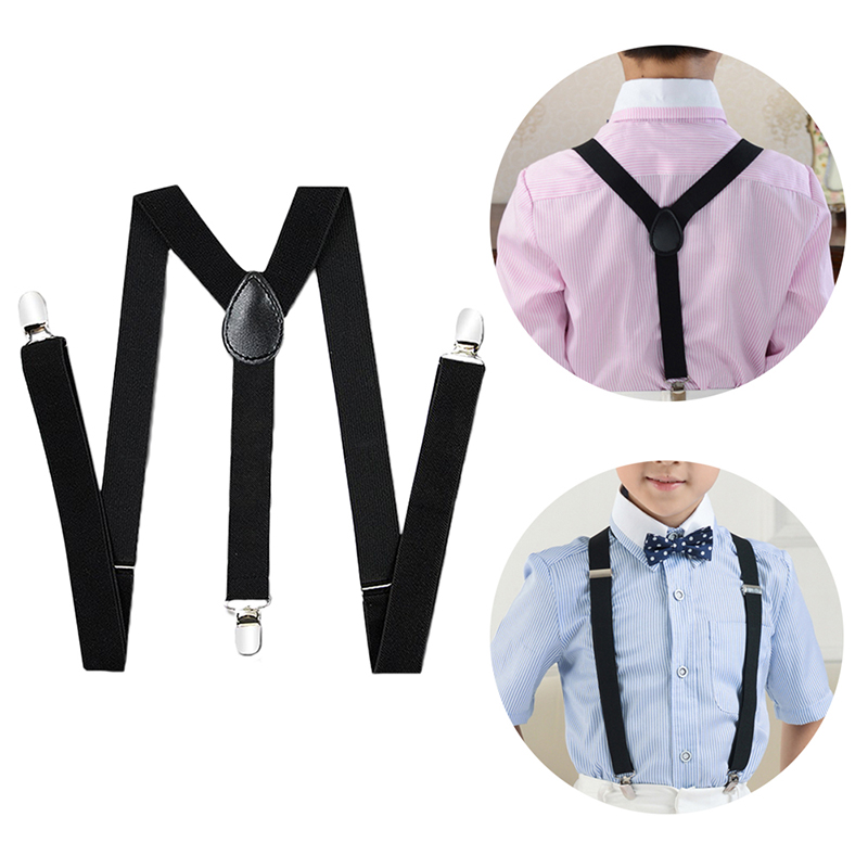 Pink Kids Boys Suspenders Baby Trousers Adjustable Elastic Back and Strong Clips Strap