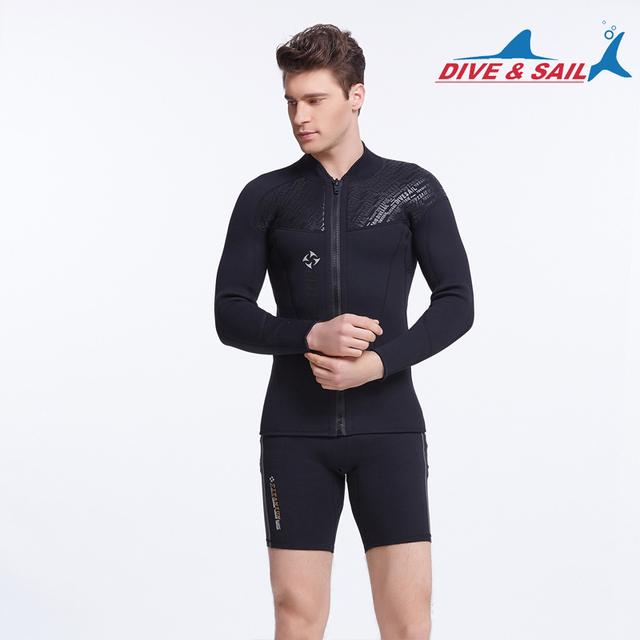 3MM Neoprene Long Sleeved Jumpsuit For Men Wetsuit Scuba Dive Jacket Wet Suit Top Winter Swim Warm Surf UpstreamDiving