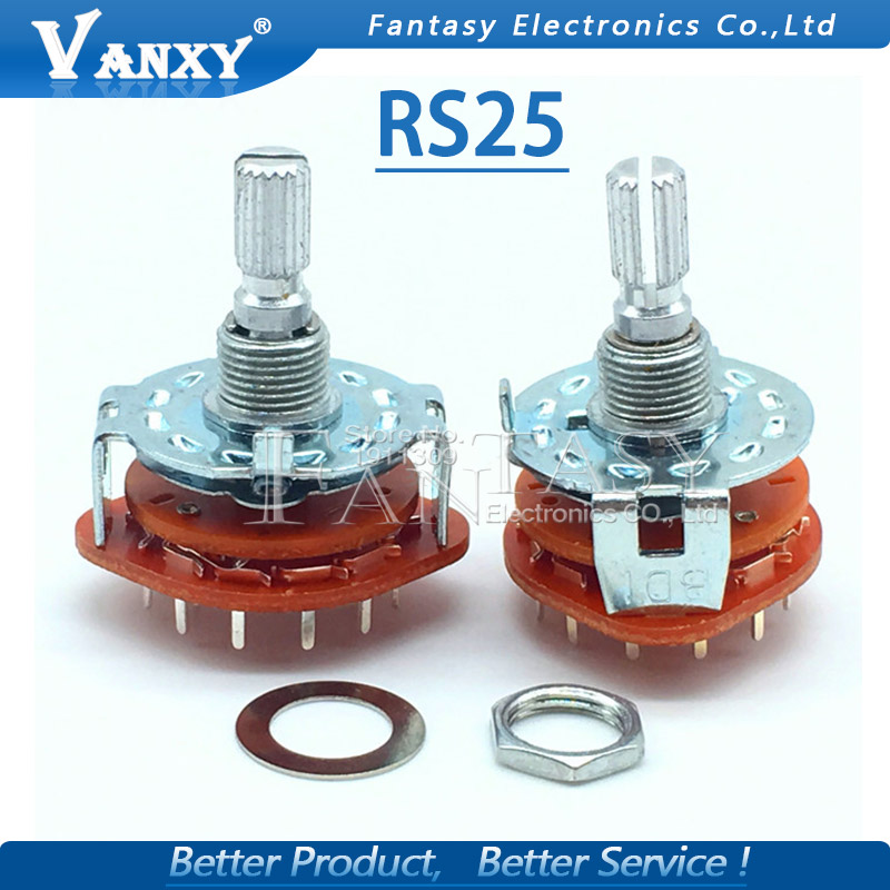 2PCS RS25 Band Switch 2P4T 2P5T 2P6T 3P3T 3P4T Mount Rotary Switch Selector Band 2 Pole 5 Position Knob Switch Band Switches