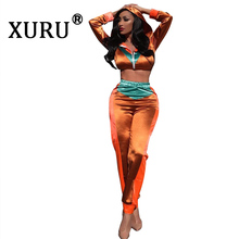 XURU new best womens jumpsuit two-piece fashion casual long-sleeved hooded suit print color matching
