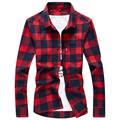 2017 Autumn New Fashion Brand Clothing Men Shirt 4 Colors Long Sleeved Shirt Men Slim Camisa Masculino Casual Plaid Mens Shirts