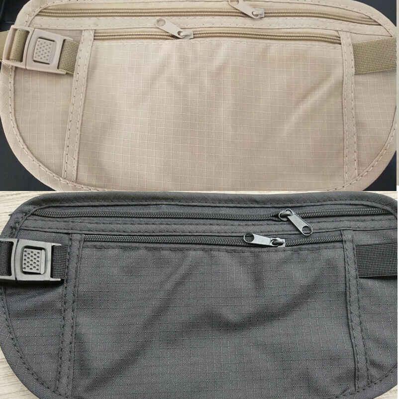 調整可能なナイロントラベルポーチ隠し財布調節可能なパスポートマネーウエストベルトバッグスリム秘密セキュリティ