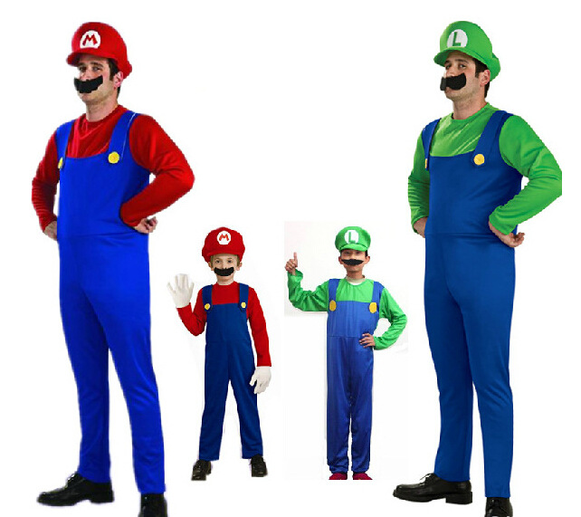 Super Mario Jumpsuit Luigi Brothers Cosplay Costume Fancy Dress Up Party Cute Costume For Adult Children Kids  Halloween Gift