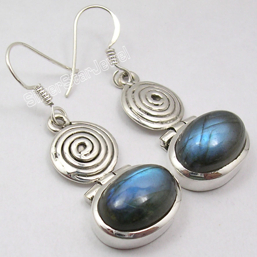 цены Chanti International Solid Silver BLUE FIRE LABRADORITE MADE IN INDIA SPIRAL New Earrings 4.2 CM