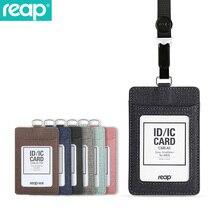 Держатель для удостоверения личности Reap 6809 из искусственной кожи с 1 окошком для удостоверения личности, 3 слота для карт и сверхпрочный выдвижной ремешок