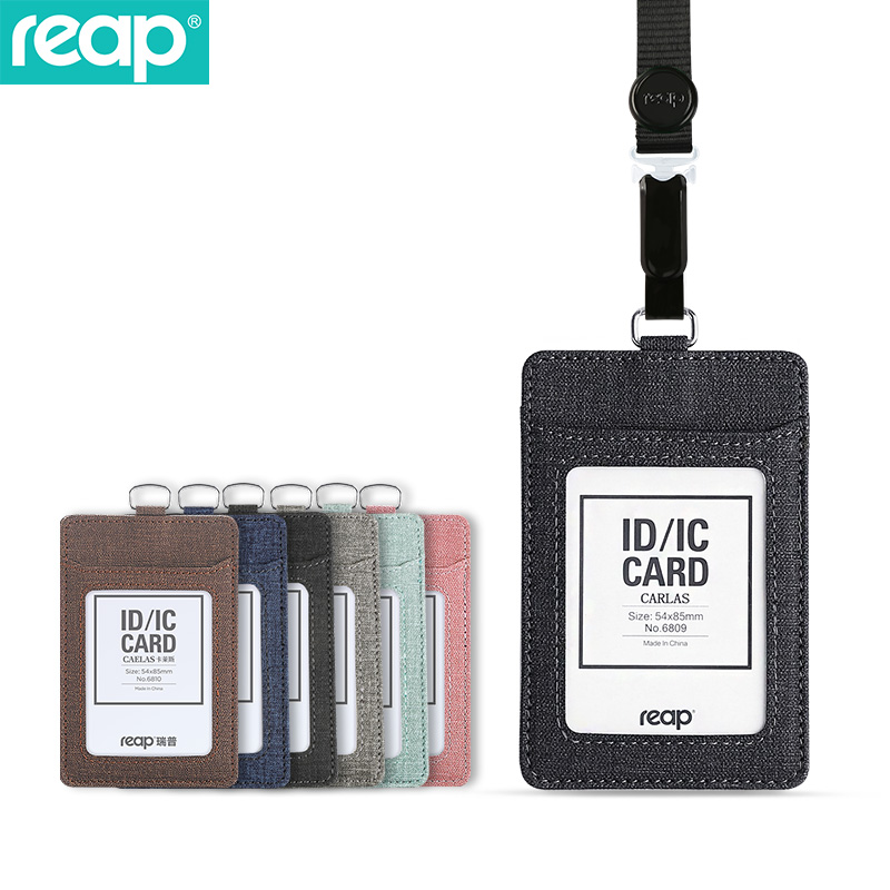 Reap 6809 PU Leather ID Badge Holder With 1 ID Window, 3 Card Slots And Heavy Duty Retractable Lanyard