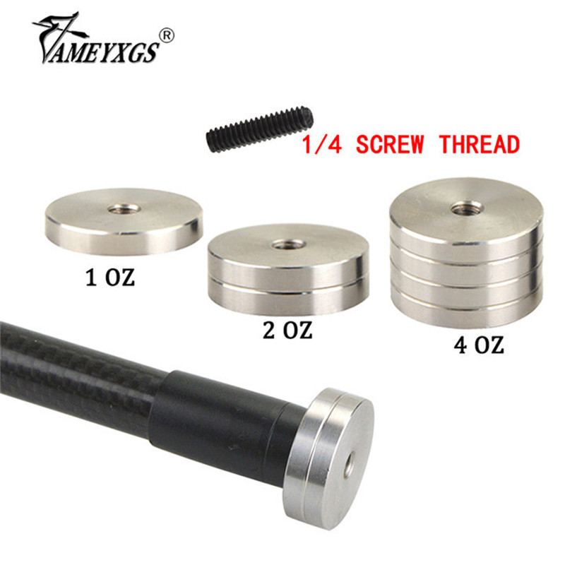 1oz/2oz/4oz Archery Stabilizer Counterweight 1/4 Screw Thread Balance Rod Shock Absorber Weight Bow Hunting Shooting Accesories