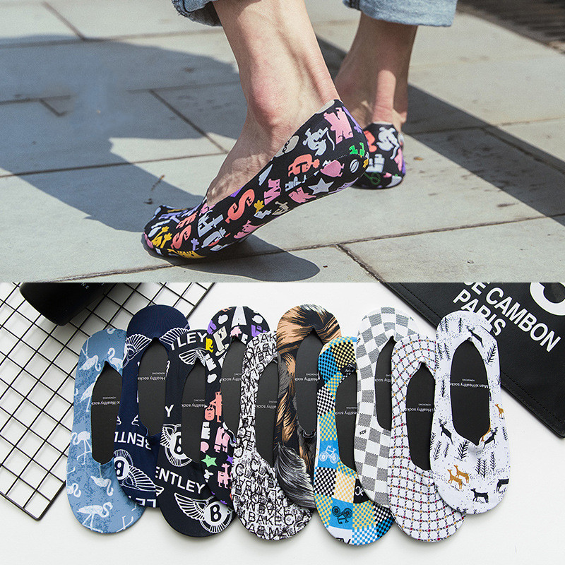 Beach Men's Fashion Harajuku Hip Hop Summer Men's   Socks   Fun Plaid Breathable Invisible Short   Socks   Men's Happy Crew   Socks