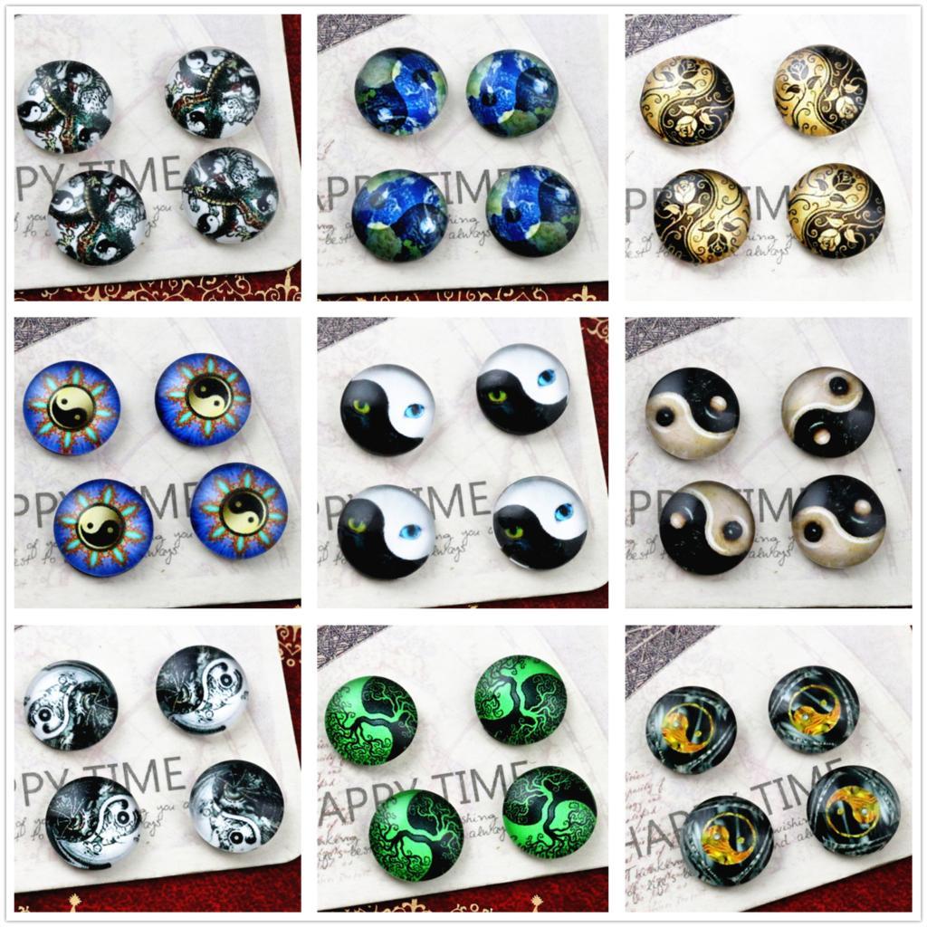 Hot Sale 20pcs 12mm Tai Chi Style Handmade Photo Glass Cabochons