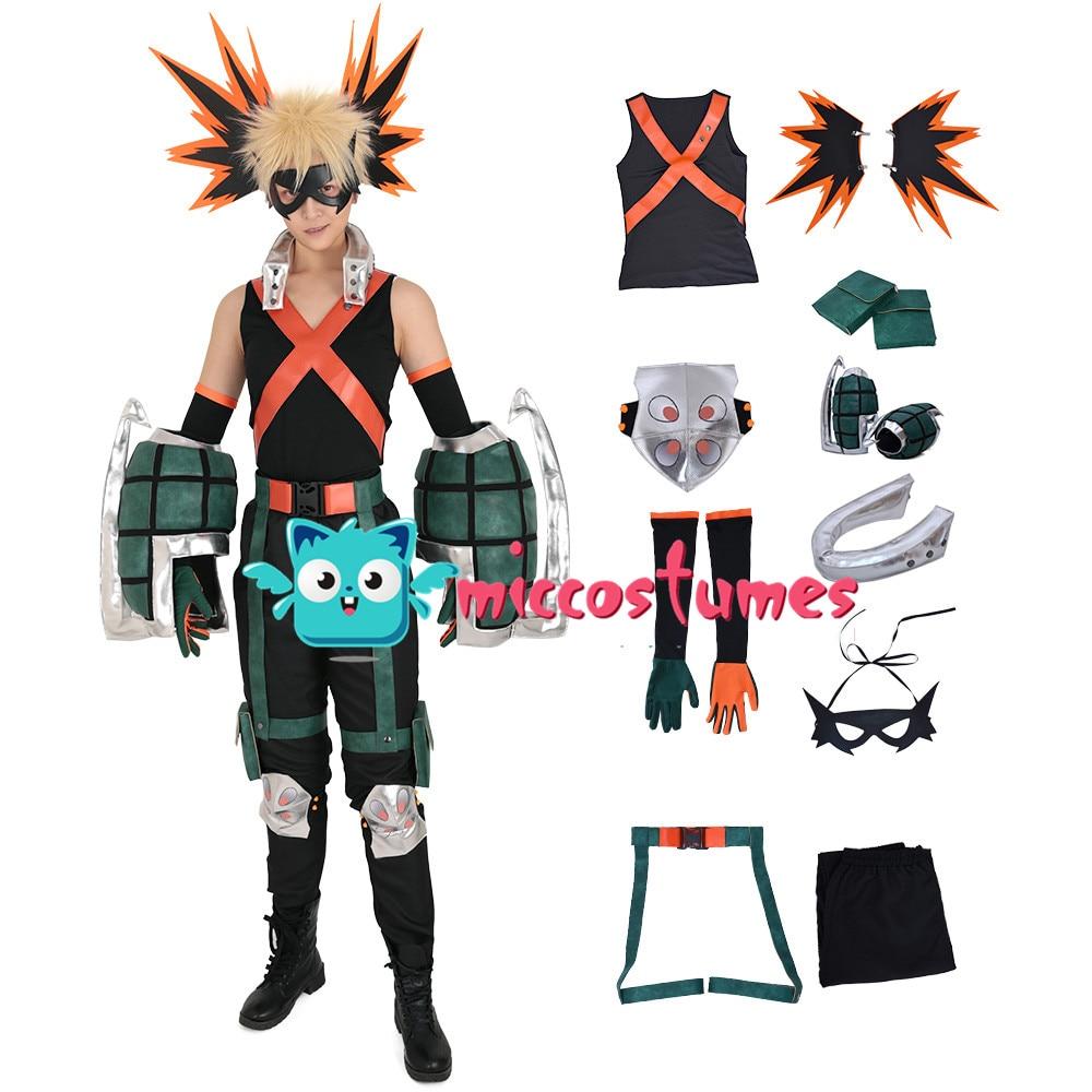 Bakugou Cosplay My Hero Academia Katsuki Bakugo Kacchan Cosplay Costume Fullset Hero Suit with Mask and Gauntlets