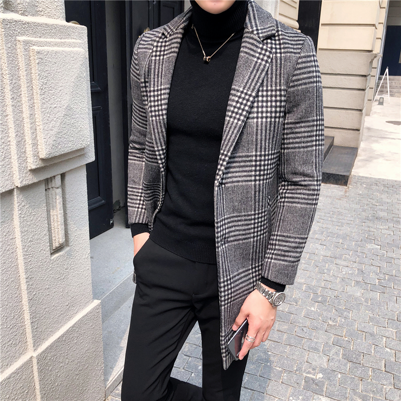 Men's Wool Coat England Middle Long Coats Jackets Slim Fit Male Autumn Winter Overcoat Woolen Coat Gray Black Plaid Smart Casual - 4