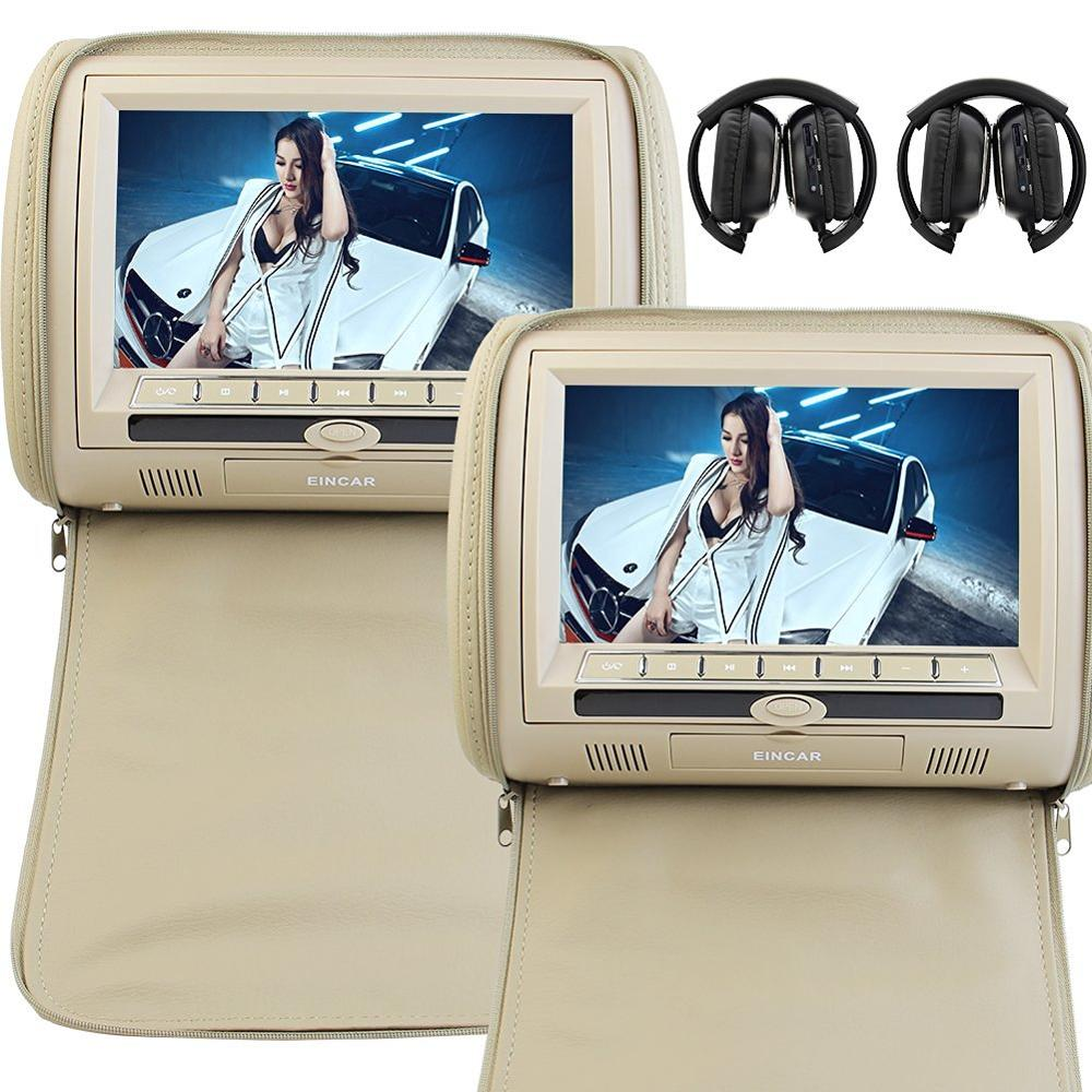 Grey 2x9 Digital Screen zipper Car Headrest DVD Player USB FM Game Disc FM transmitter Remote Control with IR Wireless Headsets 9 inch universal car headrest video player beige zipper cover digital screen dual dvd player with wireless remote control x 2