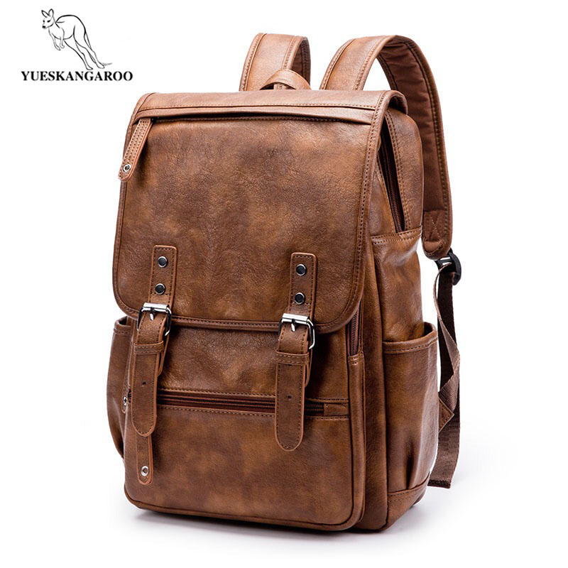 YUESKANGAROO Brand Laptop Backpack Men's Travel Bags 2018 Multifunction Waterproof Brown PU Computer Backpacks For Men 6536