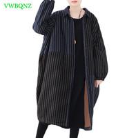 Autumn Winter New Large size Women Cotton Coat Women's Loose Quilted Long Outerwear Female Bat sleeve Blue black Overcoat A758