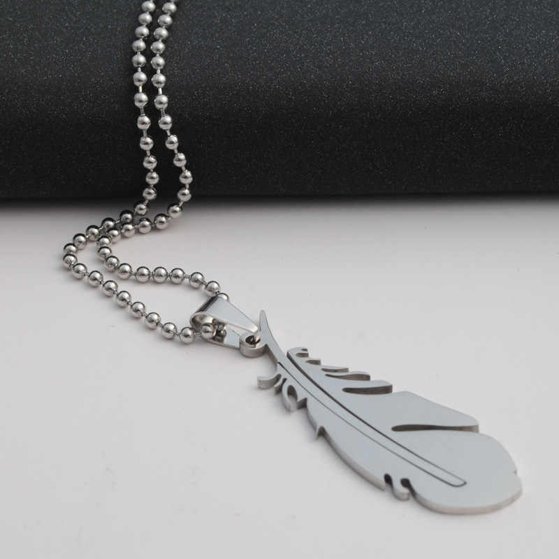drop shipping fashion Stainless Steel silver color feather pendant necklace Beads Chain Necklace statement jewelery gift