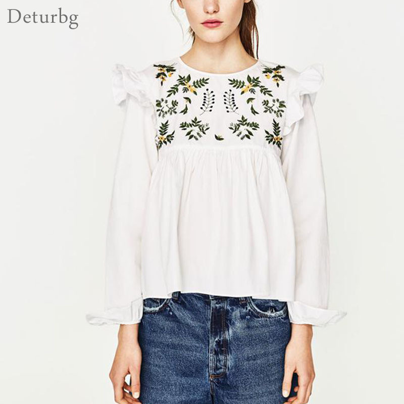 Womens Fashion Front and Back Floral Embroidery Blouses Female Ruffles Long Sleeve O Neck White Shirts Blusas 2017 Spring Br325