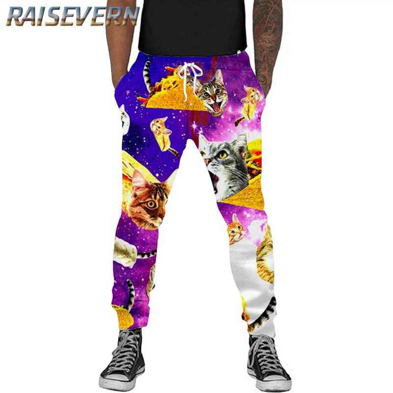 RAISEVERN 3d Sweatpants Galaxy Pizza Cats Sweats Pants Women Men Basic Joggers Pants Printed Animal Trousers Hip Hop Clothing