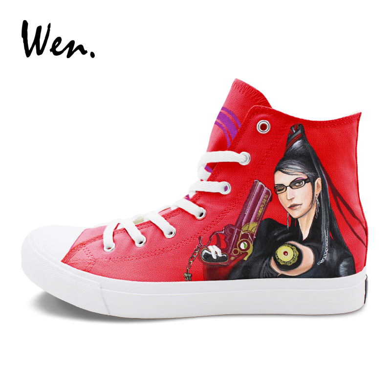 Wen Red Painting Sneakers Women Men Hand Painted Canvas Shoes Design Bayonetta And Rosa Athletic Sport lace up Flat Plimsolls won hundred пальто