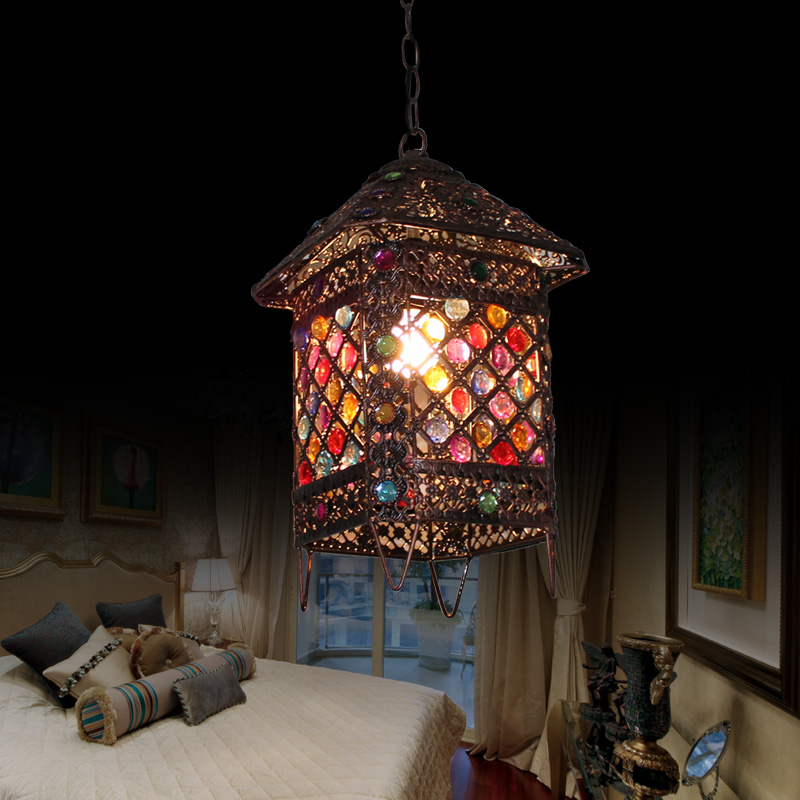 American Country Creative Restaurant Chandelier Retro Cafe KTV Livingroom Bar Bedroom Iron Decoration Lamp Free Shipping