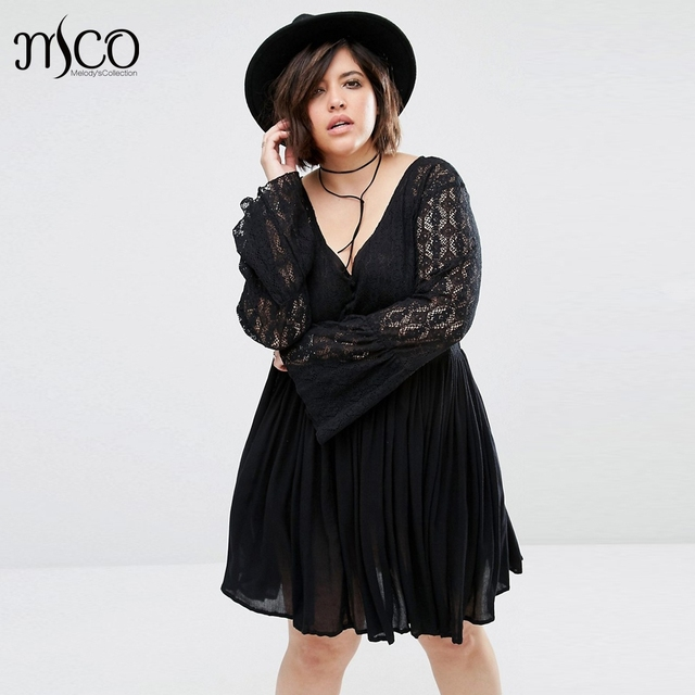 Casual Plus Size Autumn Lace Bell Long Sleeve Skater Dress Sexy V